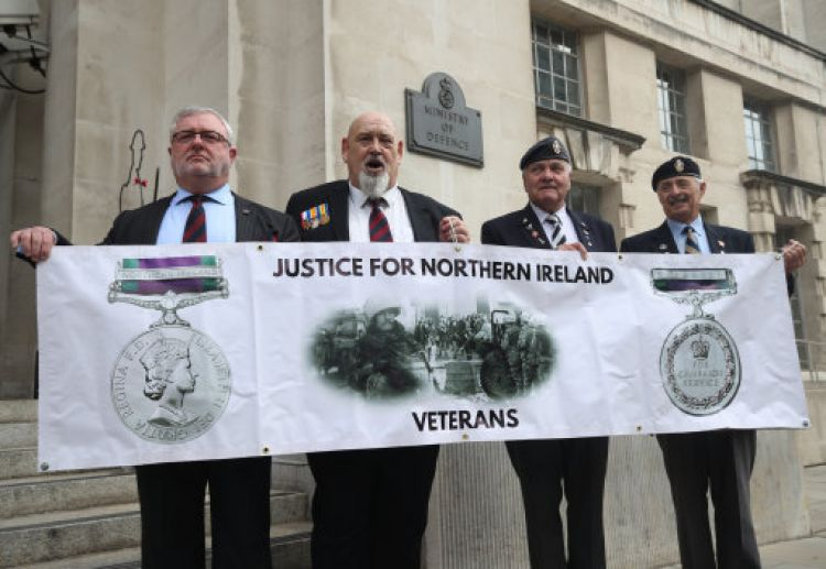 Veterans protest outside the Ministry of Defence (Picture: PA).