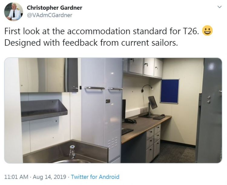 Vice Admiral Christopher Gardner Tweet inside Type 26 Frigate Credit Christopher Gardner Twitter