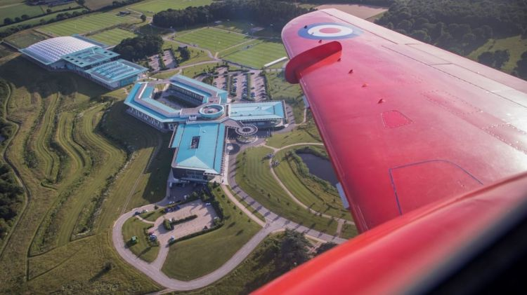 View from a Red Arrow over the England squad (Picture: @rafredarrows).