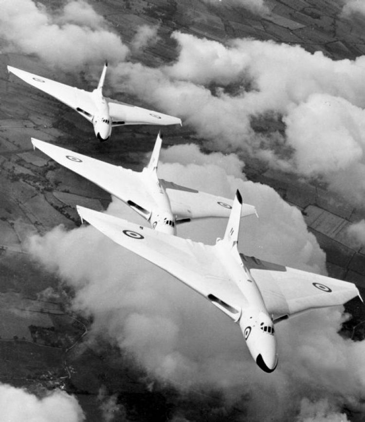 Vulcan bombers from RAF Waddington in formation