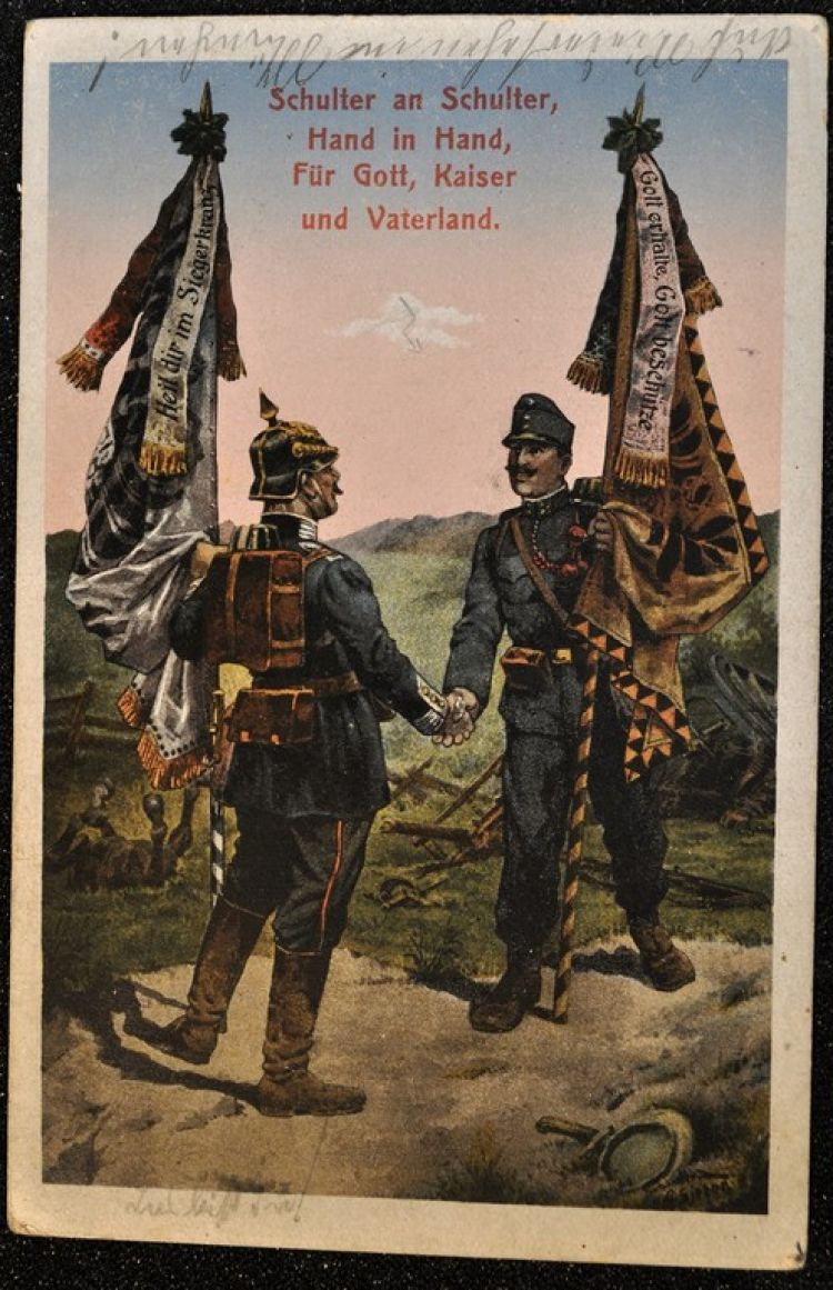 A postcard showing a German and an Austrian soldier (image: Michael Kassube)