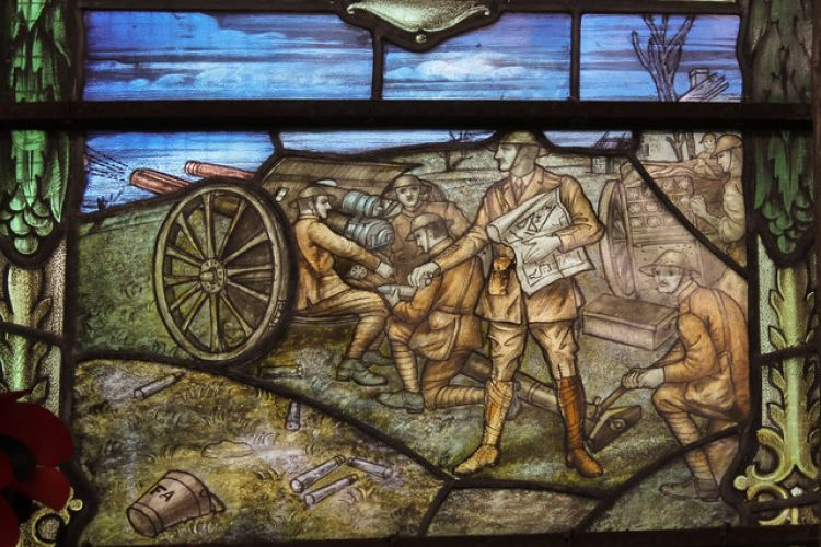 A war memorial window at Ss Peter & Paul Church in Swaffham showing gunners at the Battle of Mons (image: J.Hannan-Briggs and Julian P Guffogg)