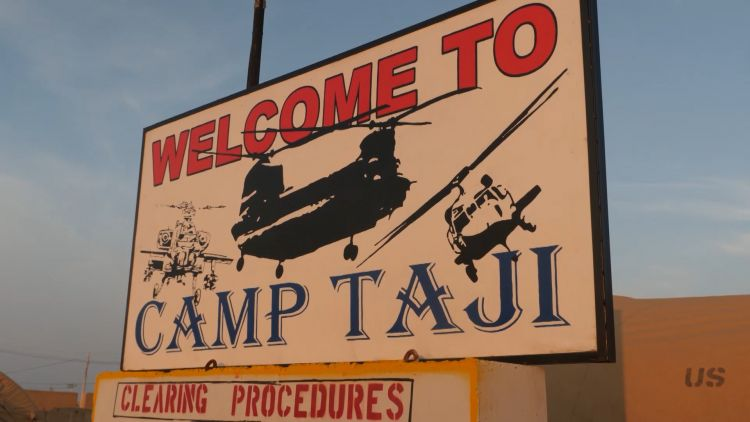 Welcome to Camp Taji sign in Iraq