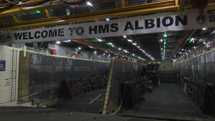 Welcome to HMS Albion sign 021118 Credit BFBS