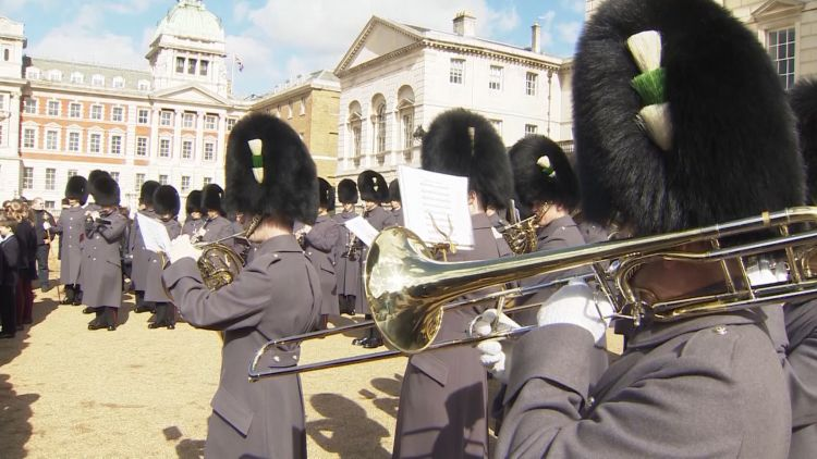 Welsh Guards perform at Commonwealth Day celebrations 110319 CREDIT BFBS