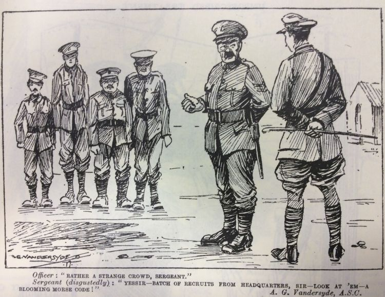 World War 1 cartoon standing to attention