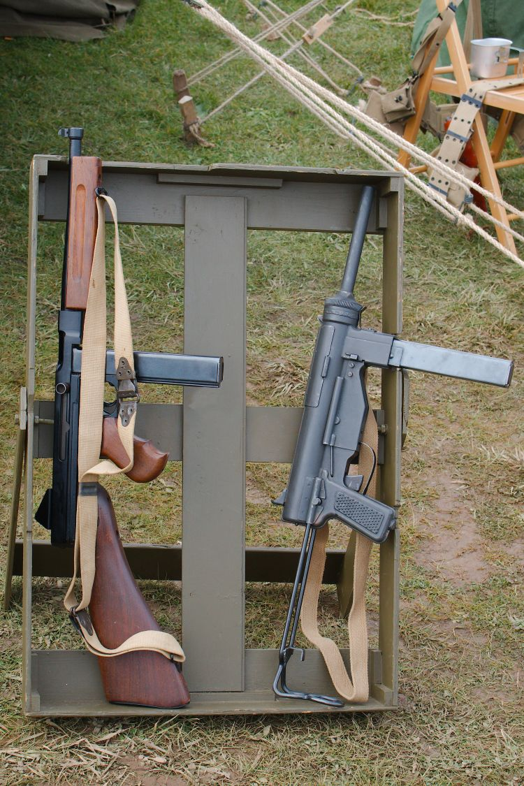 World war 2 era historical image of Thompson and M3 Grease Gun submachine guns from shutterstock