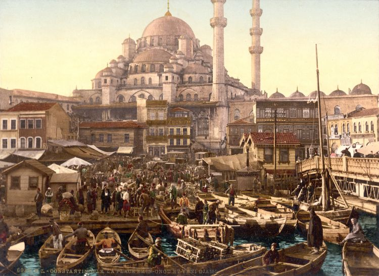 Yeni Cami and Eminönü bazaar, Constantinople, Turkey, ca. 1895 by Library of Congress