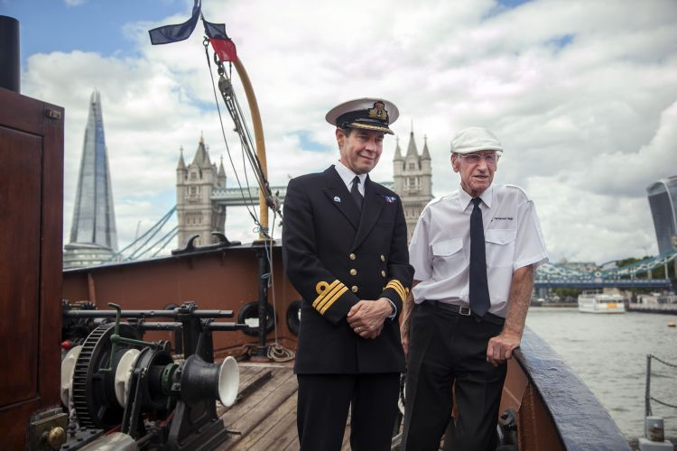 90-year-old steam tug takes Royal Navy salute