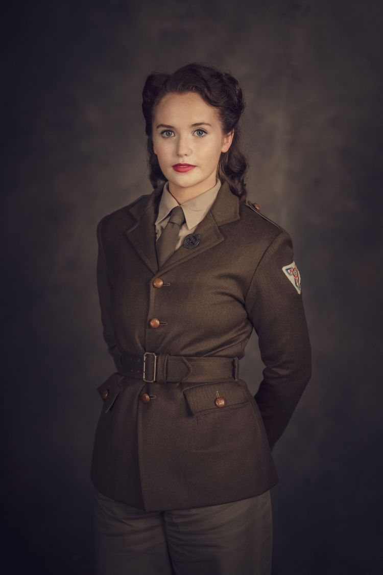 The actresses wore two different versions of the ENSA uniform during filming. Credit: BBC Pictures