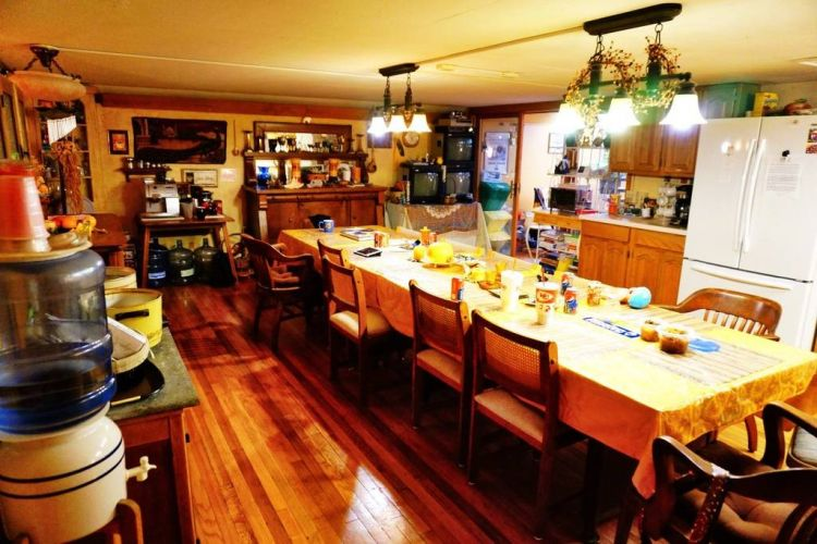 Dining room of former missile silo for rent
