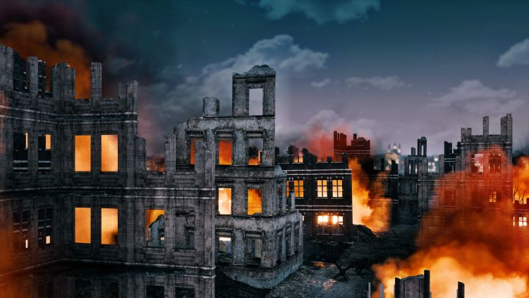 Burning ruins of destroyed after WW2 illustration, Copyright DMG Vision / Shutterstock