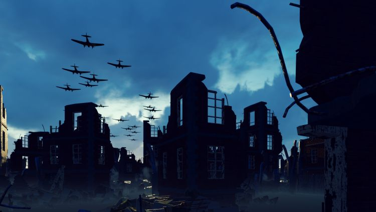 An Armada of military aircraft flies over the ruins of a ruined deserted city. 3D Rendering By Design Projects/Shutterstock