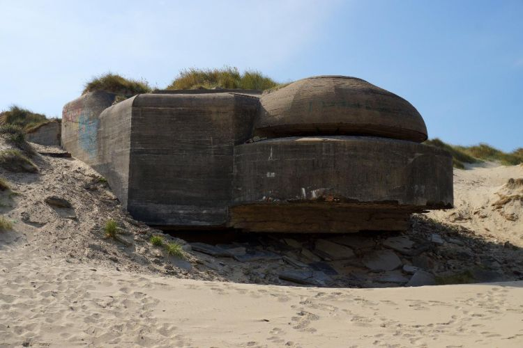 A German Bunker from WWII remains at Dunkirk today. Credit JumpStory.