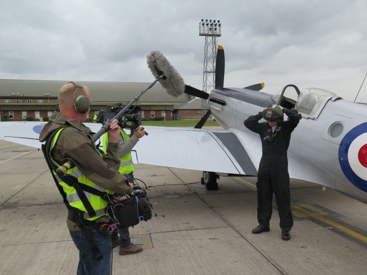 Film crew in the making of Spitfire the feature documentary about Spitfires and Hurricanes