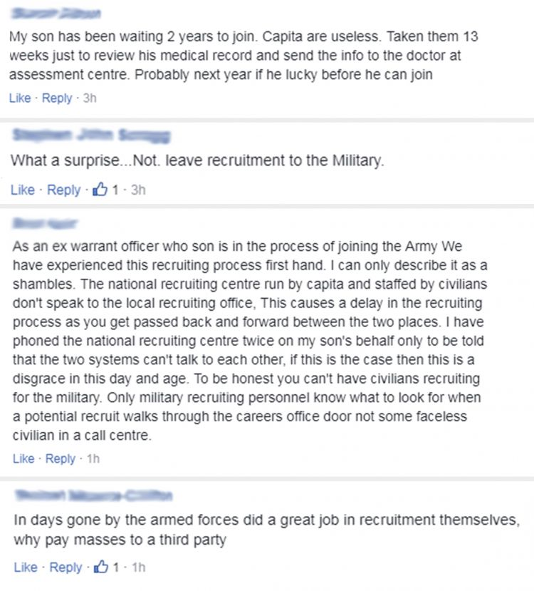 facebook comments on recruitment