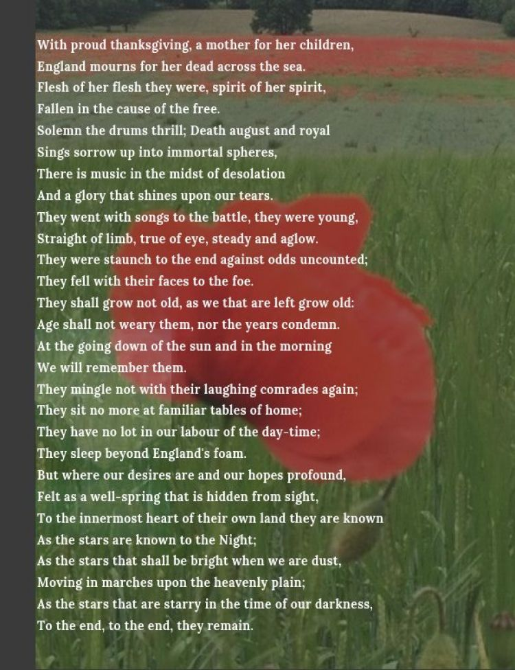 For The Fallen poem graphic. BFBS copyright