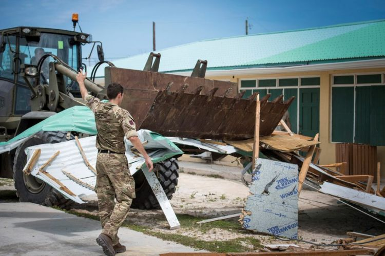 Pictured is E.L. Simons Primary School being cleaned up ready to be repaired after the damaged caused by hurricane Irma.