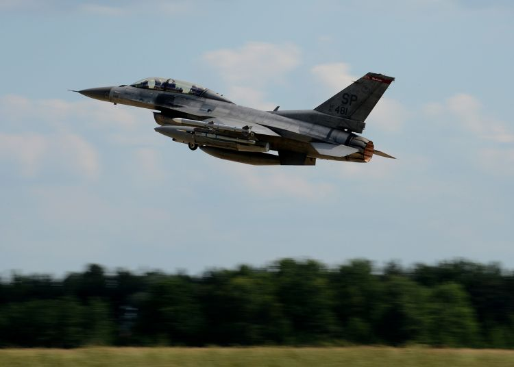 U.S. Air Force F-16 Fighting Falcon fighter aircraft from the 52nd Fighter Wing, Spangdahlem Air Base, Germany, takes off from Lask Air Base, Poland,