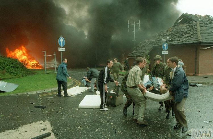 Scene at the British Army's headquarters at Thiepval Barracks, Lisburn following the detonation of two car bombs by the Irish Republican Army on 7 October 1996 IWM (HU 98371)