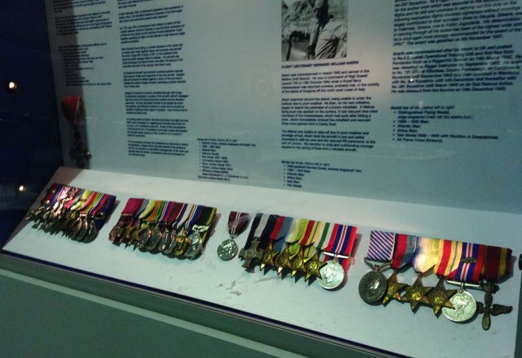 Some of the medals exhibited at the RAF museum