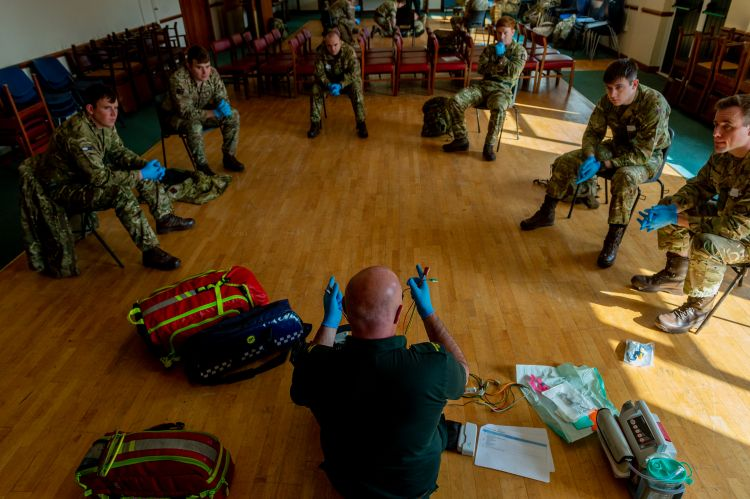 members of various British Army Regiments are being introduced to pieces of medical equipment ready to assist Ambulance drivers and Paramedics in Wales 070420 CREDIT MOD.jpg