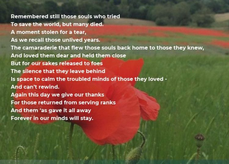 Remembrance poem by Ernie Rowe. BFBS
