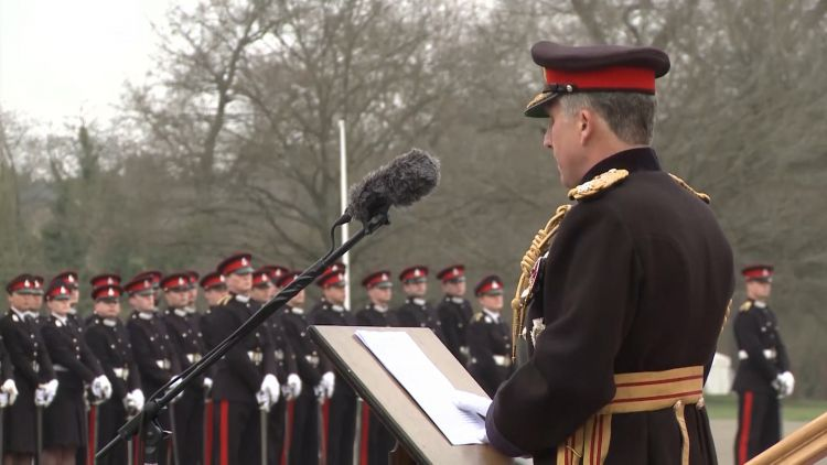General Sir Nick Carter delivers a speech.