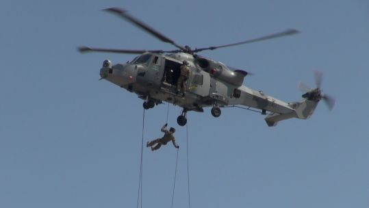 42 Commando Royal Marines abseiling at RAF Gibraltar