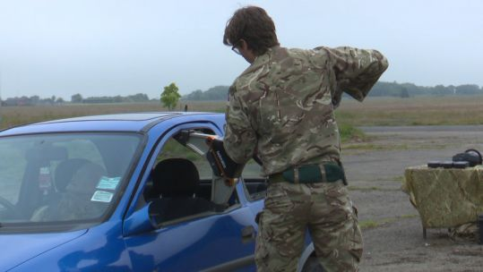 45 Commando member in UK exercises using equipment to liberate people from vehicles ahead of potential caribbean deployment 190620 CREDIT BFBS.jpg