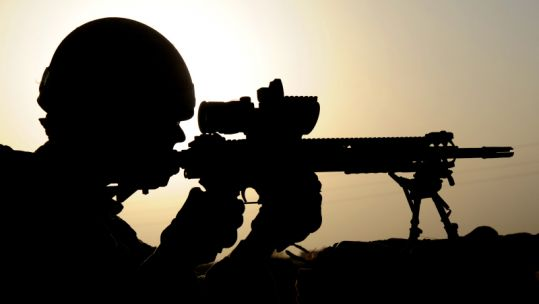 Silhouette of soldier in Afghanistan. Credit: Cpl Barry Lloyd, Crown Copyright