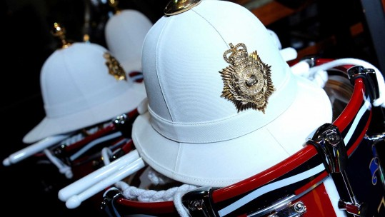 Pith helmet belonging to HM Royal Marines band member