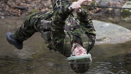 A young officer cadet from the Royal Military Academy Sandhurst takes part in preparation training for The Sandhurst Cup at the United States Military Academy at Westpoint, USA.