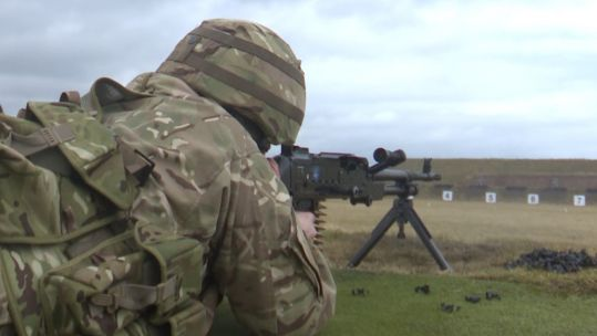 Reservist from the Royal Regiment of Scotland takes aim at the firing range.
