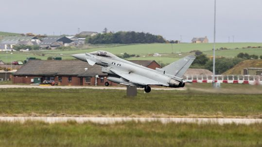 A Typhoon from 6 Squadron takes off from RAF Lossiemouth