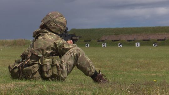 A reservist at Barry Buddon Training Camp, Scotland during Phase 1 Training 220720 CREDIT BFBS .jpg