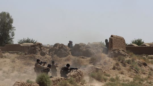 Afghan security force members take part in a military operation against Taliban in Helmand Province, Afghanistan (Picture: PA).