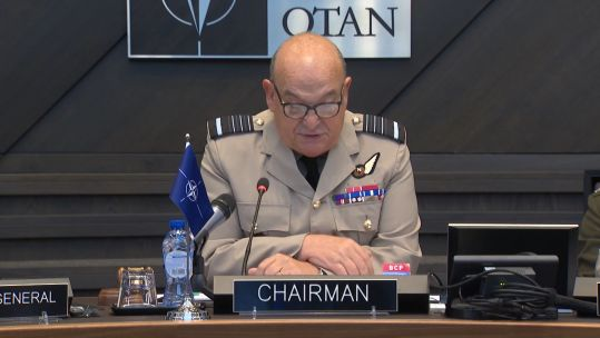 "Air Chief Marshal Sir Stuart Peach said NATO does not accept ""Russia's illegal annexation of Crimea"" (Picture: NATO TV)."