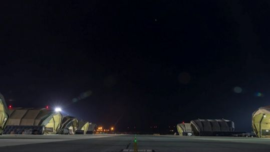 Aircraft hangars at night at RAF Akrotiri