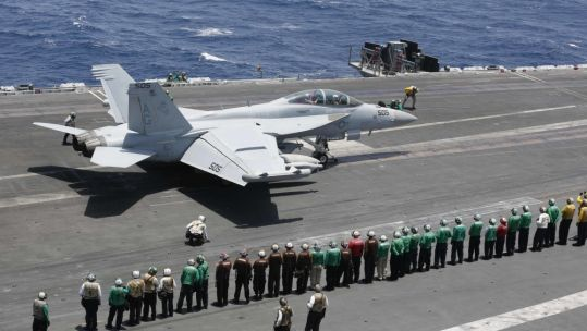 Aircraft takes off from USS Abraham Lincoln