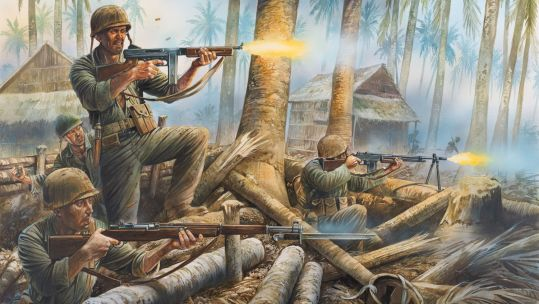 illustration of US Marines fighting in the pacific
