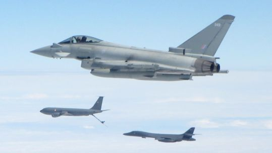 An RAF Typhoon aircraft from RAF Lossiemouth escorts a US B1B Lancer bomber over the North Sea as it is refuelled by a US KC135 Stratotanker (Picture: RAF).