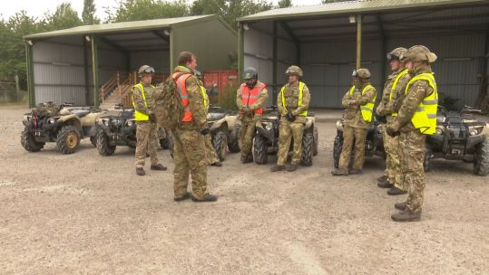 An instructor talking to students at the Defence School of Transport in East Yorkshire
