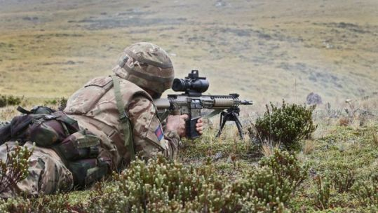 Anon soldier during exercise on Falklands Onion Ranges