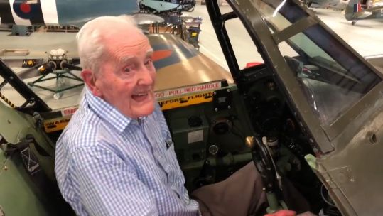 Archie McInnes in a Hurricane aircraft.
