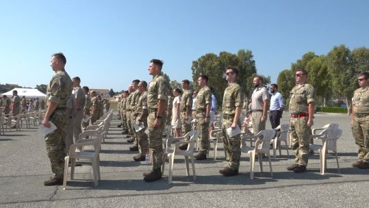 Armed Forces personnel at a Battle of Britain commemoration service at RAF Akrotiri, Cyprus