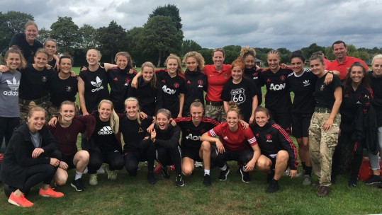 The Army Women's Football Team with Manchester United Women's Football Team