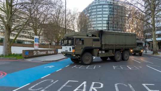 Cover image: The Army delivers supplies to a London hospital (Picture: MOD).