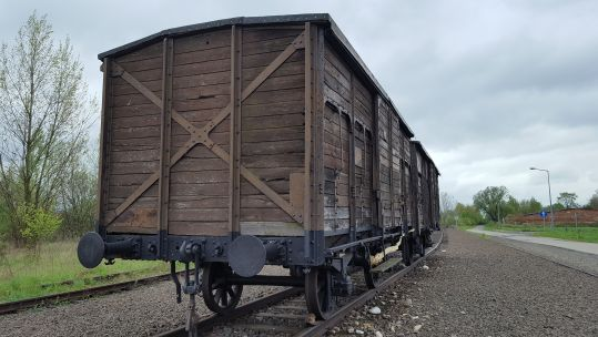Auschwitz-Birkenau cattle trucks CREDIT BFBS