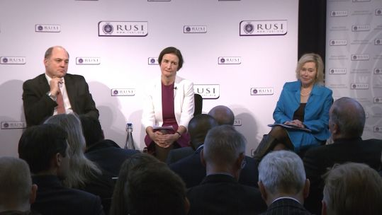 Ben Wallace, Ria Griffith and Baroness Smith at RUSI election debate 281119 CREDIT BFBS.jpg